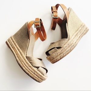 Tory Burch • Gold Shimmer Gilded Wedges